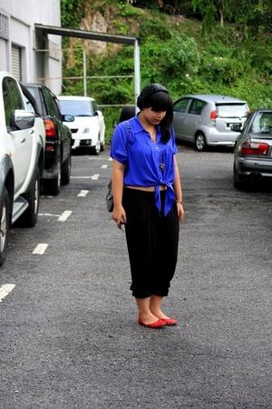 online blouse - Zara pants - nose shoes - cotton on