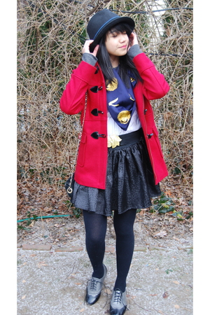 red some place jacket - black H&amp;M tights - silver Forever 21 shoes - black Max R