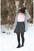 pink shirt - silver Forever 21 cardigan - black H&M skirt - black tights - black