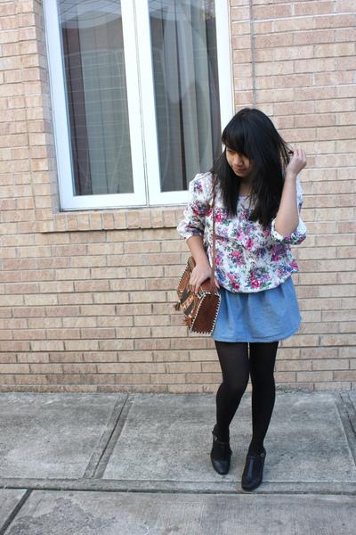 white Charlotte Russe blouse - blue Forever 21 skirt - black tights - brown