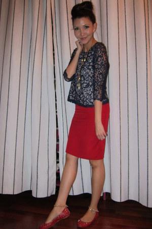 red calvin klein skirt