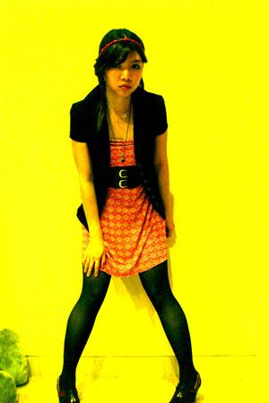 red toob dress Zara dress - black kookie jacket - black wide belt Orange belt