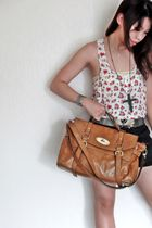 white H&M top - brown bought in china market bag - black highwaist random shorts