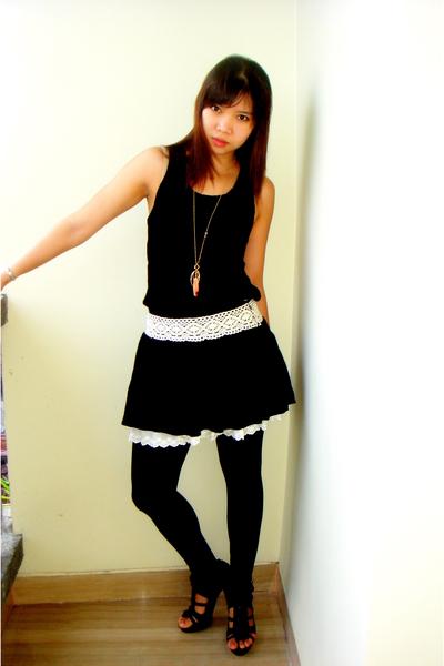 ozoc dress - korean brand skirt - Zara shoes - gift necklace
