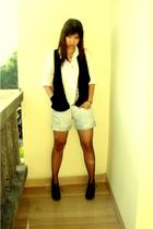 homemade shirt - Bamboo blonde vest - Zara shorts - Scooter shoes