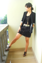 bardot blazer - ozoc top - cotton on skirt - Guess shoes - belt