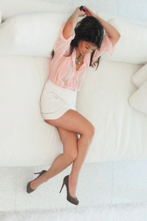 light pink Mink Pink blouse - dark brown Christian Louboutin heels