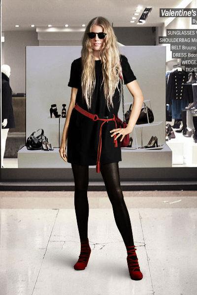 Black Dresses Black Stockings Red Shoes Red Purses Black Belts