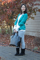 teal mark blazer - Zara bag