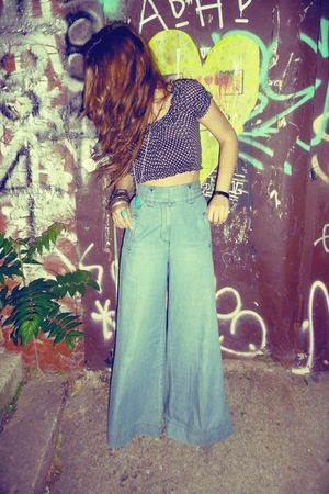 black vintage top - blue vintage pants