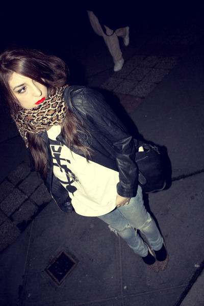 black Primark jacket - white 5Preview t-shirt - blue H&M jeans