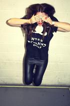 black wetlook American Apparel leggings - black 5Preview t-shirt