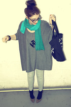 gray H&M sweater - silver H&M leggings - orange Primark shoes