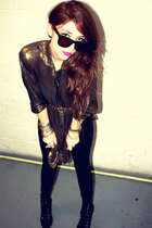 black American Apparel leggings - gold Beacons Closet shirt