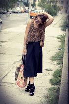 black vintage skirt - black wedge Aldo shoes - gold leopard vintage top