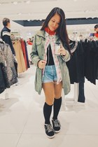 olive green Zara jacket - bubble gum Terranova shirt - sky blue Bazaar shorts