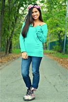 aquamarine jennyfer sweater - off white kicks boots - navy Alcott leggings