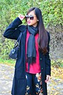Brown-lilley-boots-black-zara-coat-ruby-red-prototype-shirt