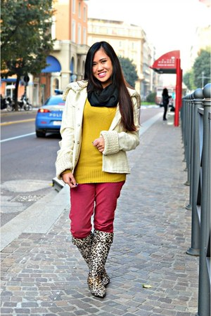 camel boots - maroon Max & Co jeans - off white Mango jacket