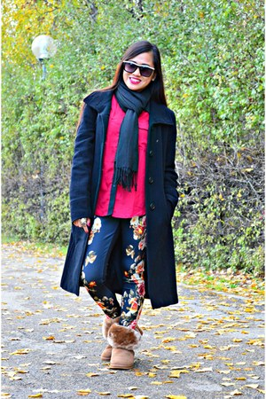 black Zara coat - brown Lilley boots - ruby red Prototype shirt