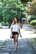 black Mango shorts - off white off shoulders Bershka top