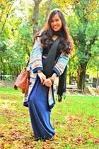 light blue H&M cardigan - black Pashmina scarf - bronze H&M bag