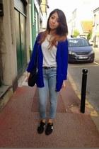 H&M cardigan - Topshop jeans - Zara bag - Primark t-shirt - New Balance sneakers