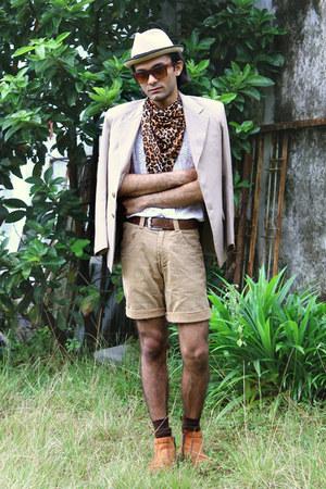 camel tailored blazer - tawny zipper vintage boots - camel DIY shorts