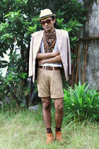 camel tailored blazer - tawny zipper vintage boots - camel DIY shorts