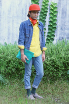 navy denim jacket - blue slim cut Topman jeans - red snapback hat - yellow shirt