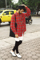 red tartan unbranded shirt - white shiny leather new look shoes