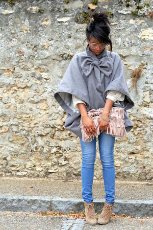 beige Zara shoes - silver Violette Tannenbaum coat - H&M jeans - pink Zara bag