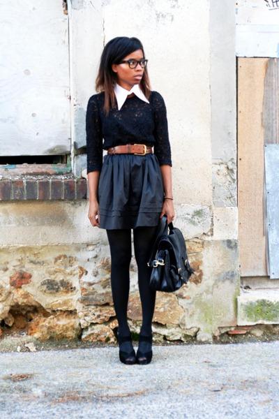new look heels - H&M bag - Violette Tannenbaum skirt - H&M blouse