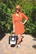 tan modcloth boots - orange modcloth dress - black black and white Celine bag