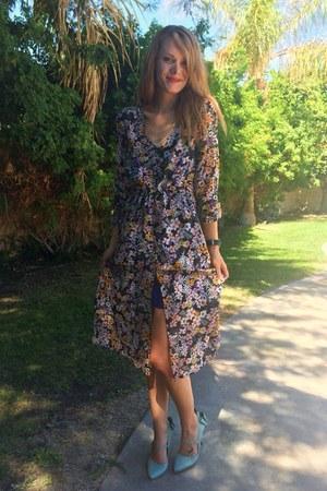 black floral sheer Sheinside dress - aquamarine modcloth heels