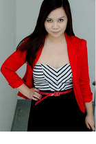 red tailored New Yorker blazer - black color block Forever21 dress