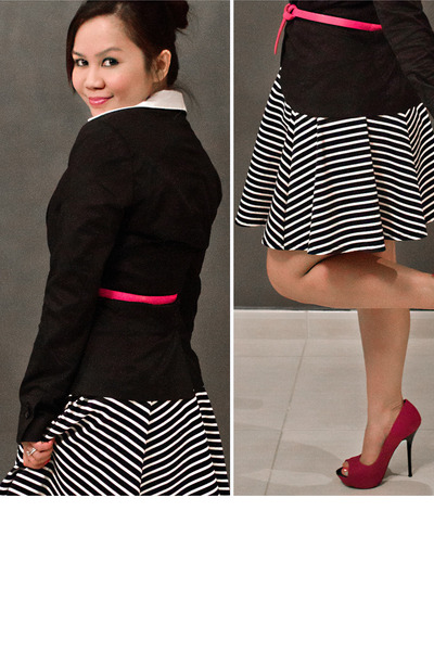 black striped River Island skirt - black wrap H&M blazer