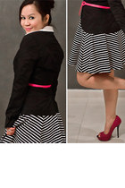 black striped River Island skirt - black wrap H&M blazer