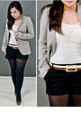 Beige-tailored-zara-blazer-black-tailored-forever21-shorts