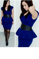 blue peplum dress - black polka dot leggings - black platform new look pumps