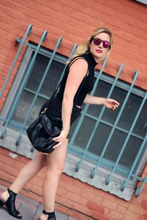 black Zara boots - black brandy melville bag - black madewell shorts