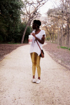 gold leggings - blouse - shoes - Dooney & Bourke purse - sunglasses