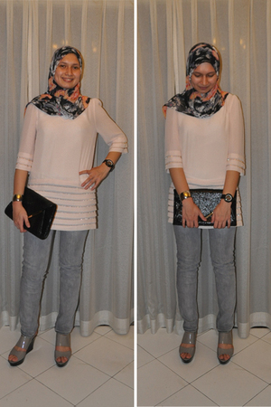 black scarf - pink top - gray MNG jeans - gray Charles & Keith shoes - black pur