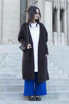 white COS shirt - blue Zara pants - dark brown acne cardigan
