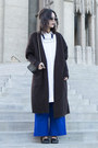 White-cos-shirt-blue-zara-pants-dark-brown-acne-cardigan