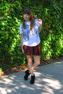 Brick-red-forever-21-skirt-black-suede-boots-sky-blue-denim-vest