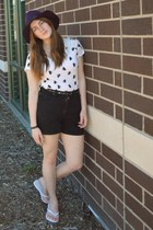 deep purple thrifted hat - white kitty Forever 21 shirt - black vintage shorts