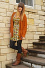 Green-floral-forever-21-dress-dark-brown-boots-white-h-m-shirt