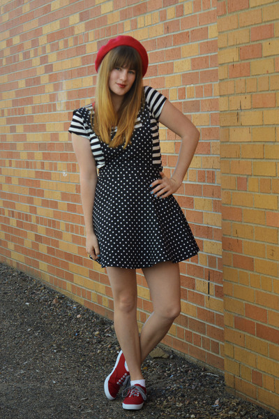 red Payless shoes - black polka dot Forever 21 dress - ruby red thrifted hat