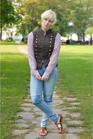 dark brown vest - light blue American Eagle jeans - light purple blouse